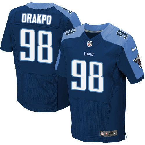 b61f8d957 ... Brian Orakpo Mens Elite Navy Blue Jersey Nike NFL Tennessee Titans  Alternate 98 ...