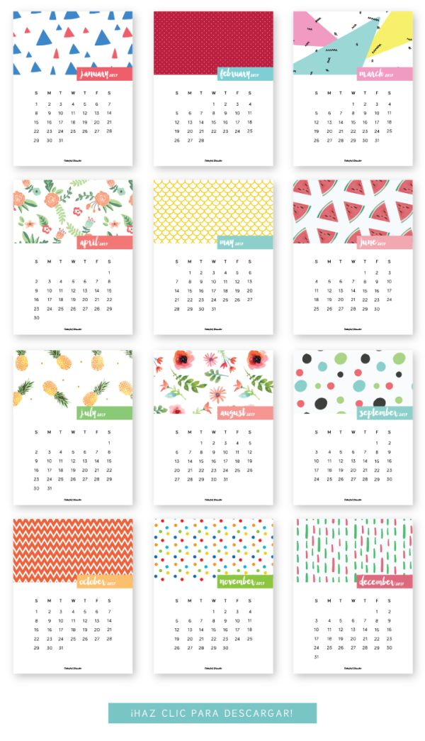 Source: Monthly Printable Calendar 2017 – Colorful Disaster ♡