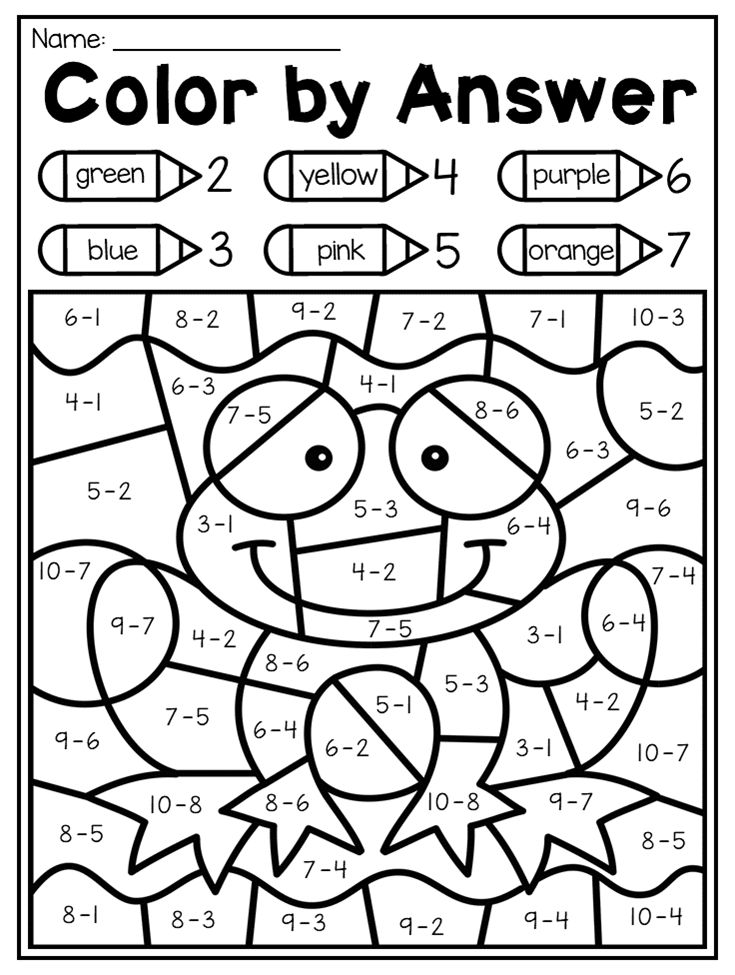 Color math worksheets for kindergarten