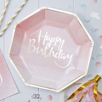 A fun pack of foiled paper plates perfect for birthday parties!