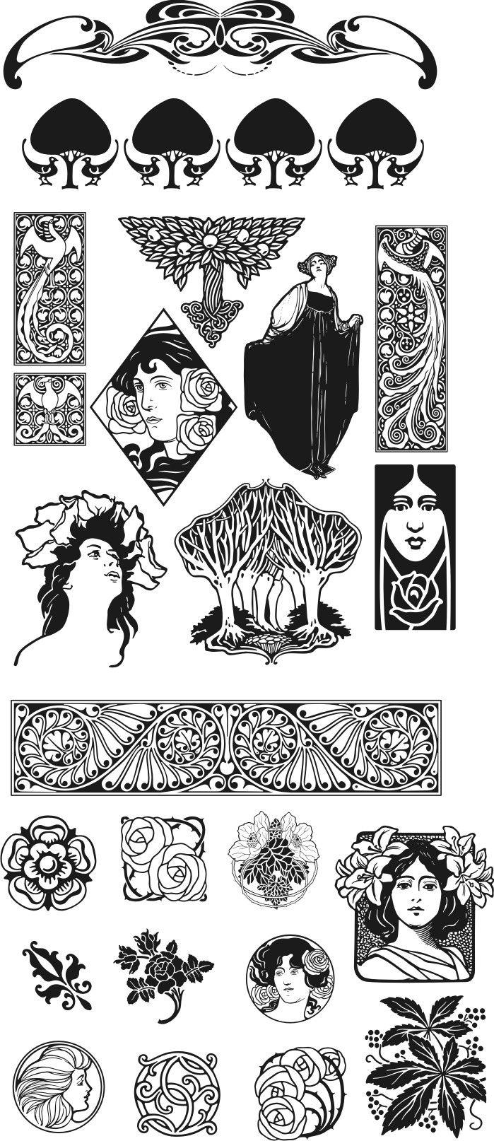 Tekening: Vrouwen Art Nouveau (-stijl): Patroon-Kleurplaat-Sjabloon-Prent