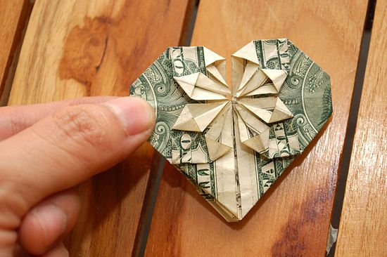 How to Fold a Dollar Into a Heart: 14 Steps. For other bills, make sure the length of the bill is 3 times the width. Just fold to the right size and start with step 1.