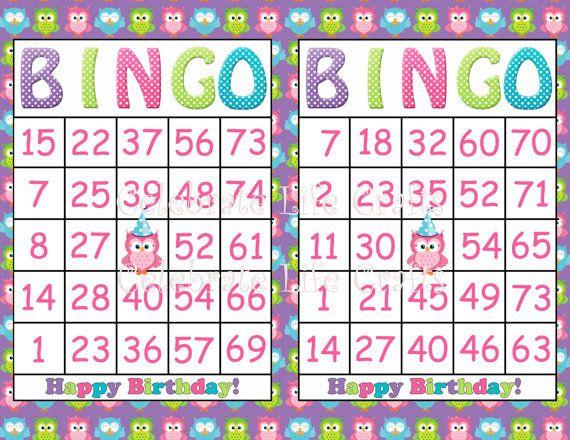 Printable Owl Bingo Birthday Girl Party Game- INSTANT DOWNLOAD - 30 Bingo cards - Fun Birthday Party Game for Kids -  Purple Owl Theme via Etsy