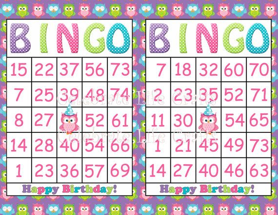 Printable Owl Bingo Birthday Girl Party Game- INSTANT DOWNLOAD - 30 Bingo cards - Fun Birthday Party Game for Kids -  Purple Owl Theme via Etsy