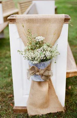 Burlap Wedding aisle flower décor, wedding ceremony flowers, pew flowers, wedding flowers, add pic source on comment and we will update it. www.myfloweraffair.com can create this beautiful wedding flower look.