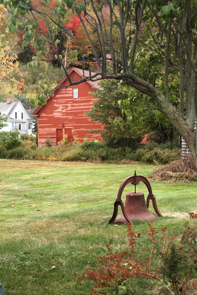 FARMHOUSE – BARN – vintage early american barn commonly used for storing farm equipment, storage of harvested crops, or providing shelter for livestock. this red barn includes a dinner bell.