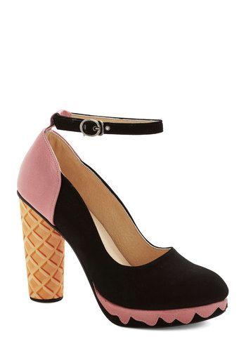 Superlative Sundae Heel - High, Leather, Pink, Black, Tan / Cream, Solid, Novelty Print, Party, Quirky, Best, Chunky heel, Platform, Stateme...