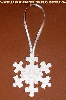 Puzzle piece snowflake, I like it - finally a practical use for all those puzzles with missing pieces...CUTE