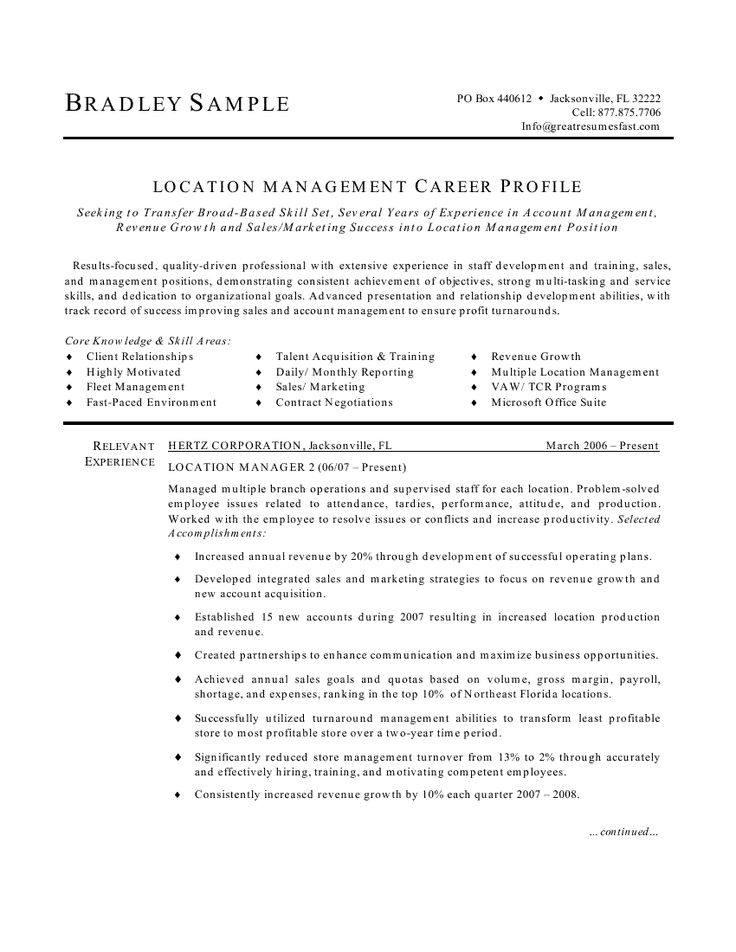 166 best Resume Templates and CV Reference images on Pinterest - property manager resume sample