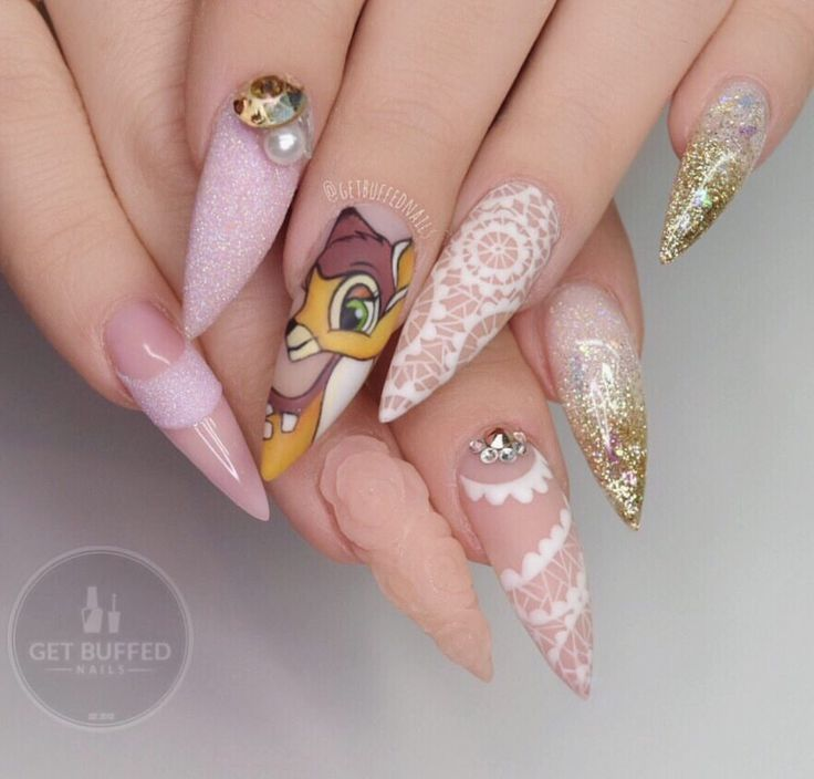Instagram photo of Bambi-inspired Stiletto Design Acrylic Nails by getbuffednails