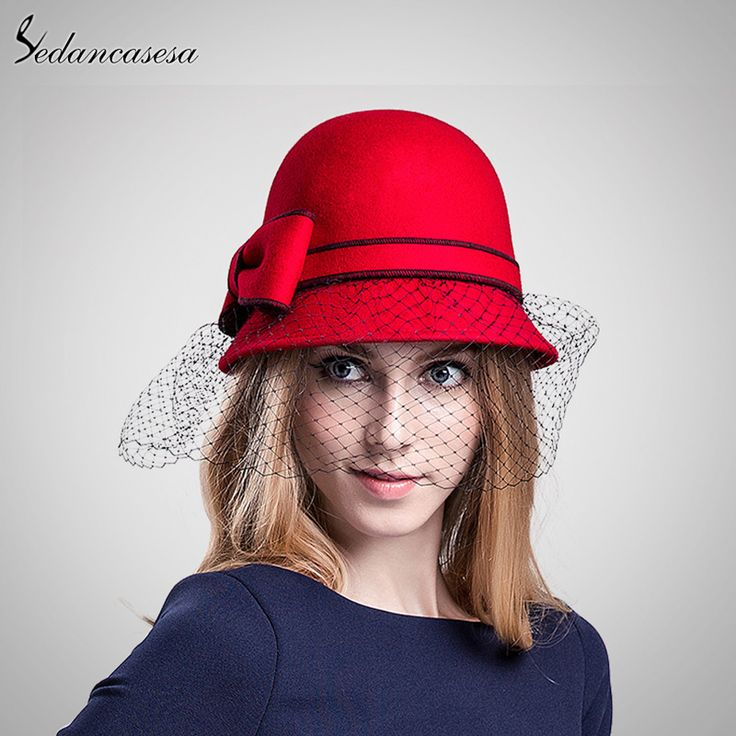 0db55511ec8956 Winter 100% Wool From Australian Cloche Fedora Hat With Veil Round Brim Red  Black Mesh