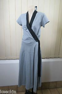 ONE Size Bella B Wear Ladies Grey Wrap Dress Business Office Work Casual Design | eBay