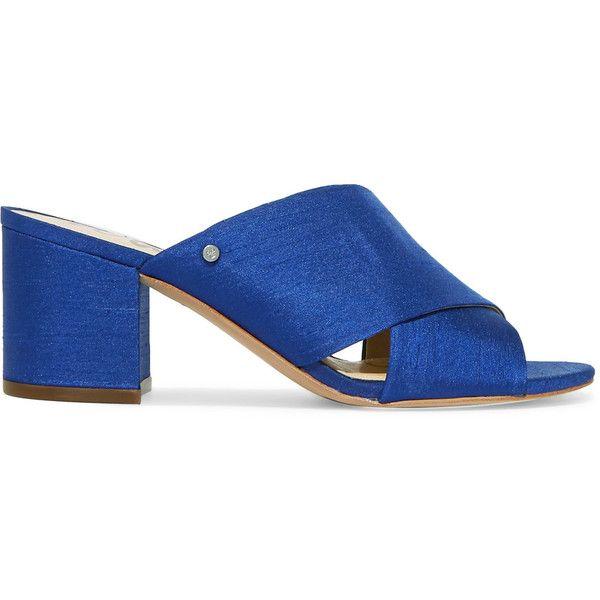 Sam Edelman Stanley slub satin mules (915 NOK) ❤ liked on Polyvore featuring shoes, cobalt blue, satin shoes, satin mules, nautical shoes, strappy shoes and mule shoes