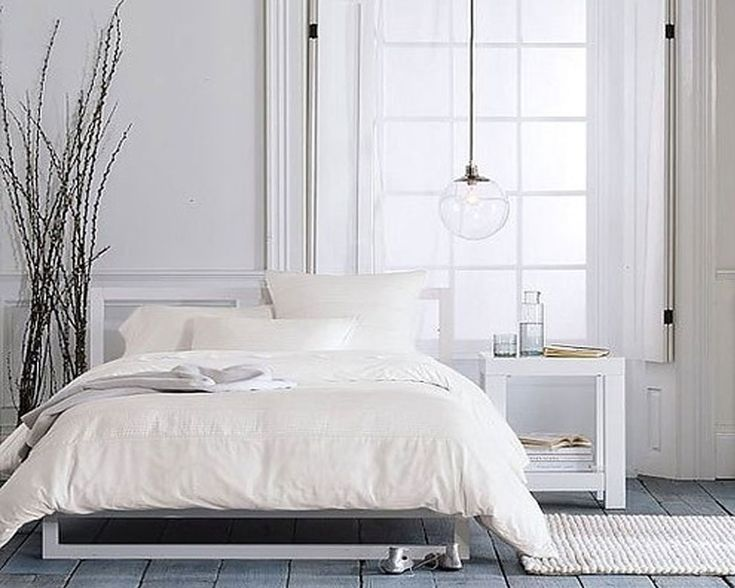 16 Cool And Modern White Bedroom Designs : Beautiful White Scandinavian Bedroom Decoration with Iron White Frame Bed and White Small Bedroom...