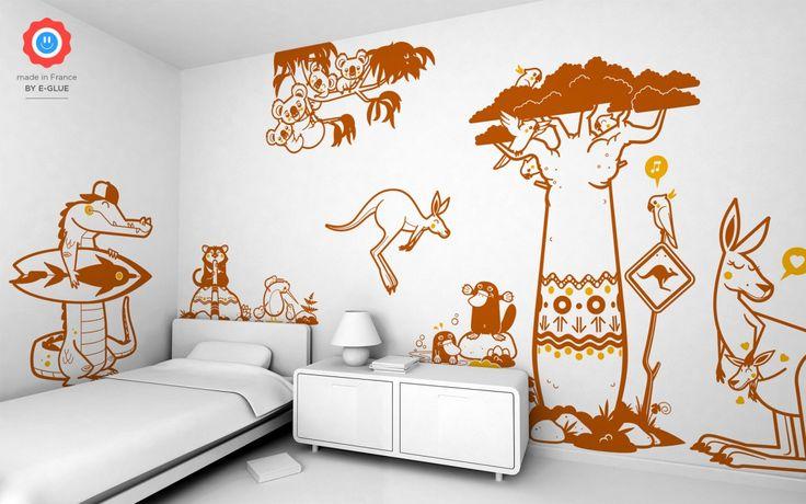 stickers enfant Australie par E-Glue  -  -  #chambreenfant #chambrebebe #stickers #stickersmuraux #decoration #decor #koala #kangourou