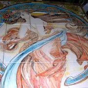 pannello in maiolica alfons mucha liberty art nouveau