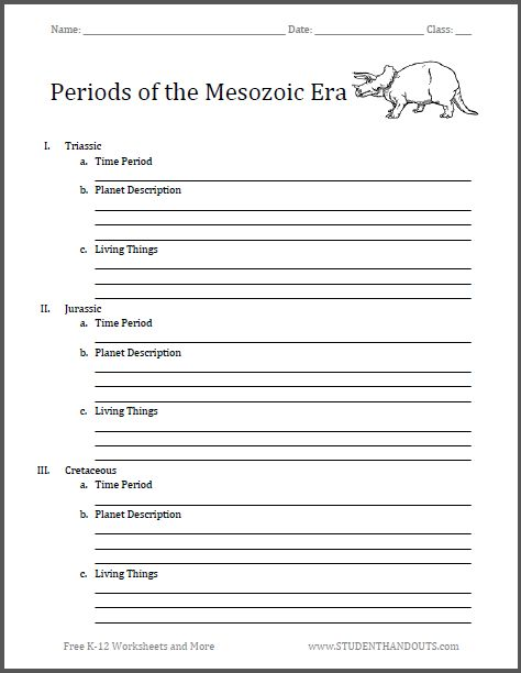 periods of the mesozoic era blank outline homeschool science pinterest dinosaurs. Black Bedroom Furniture Sets. Home Design Ideas