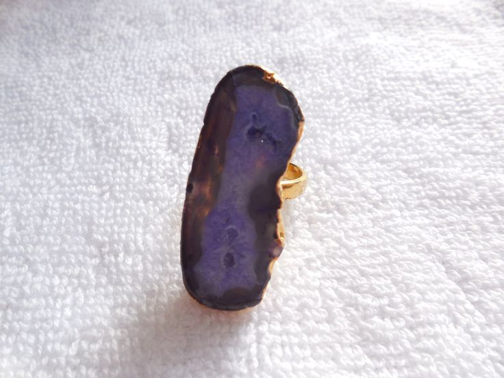 1Psc Natural Druzy Ring,18K Gold edge Electroplated Ring,Geode Slice Ring,Druzy Gemstone Ring,Adjustable Ring by InternationalByBeads on Etsy