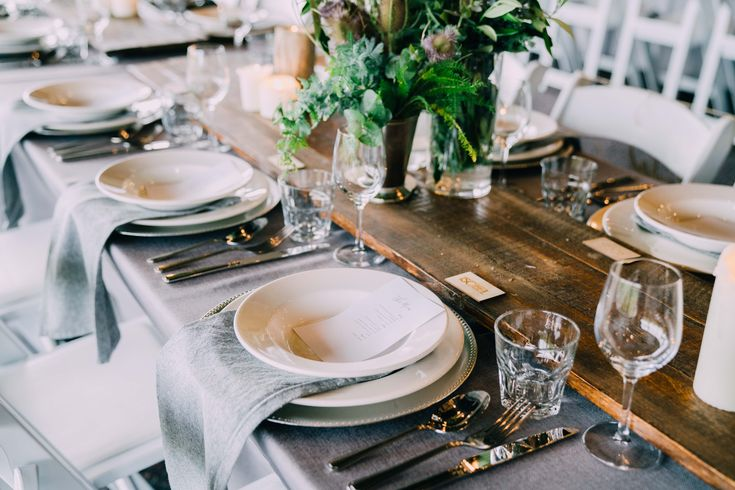 Love the grey napkins with the green and white.  Adorn Event Styling @Tailrace Centre