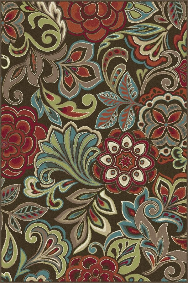 Botanical elements combine to create a tropical flair in this flirty transitional area rug. This design will add a punch of color to various design modes, from traditional to contemporary. Espresso brown background with cranberry red, snowy ivory, pear green, ecru gold, mushroom taupe, teal blue, and russet. Machine made of soft polypropylene that is naturally stain-resistant and easy to maintain. The three piece set includes a 5' x 7', 1'8