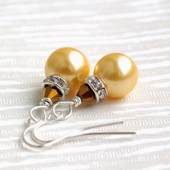 Yellow Bridesmaids Jewelry earrings Glass pearl beads Rhinestone spacer Crystal wedding party beaded jewelry