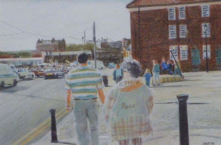 'Gill and Martin' Crayon on paper 15 x 10 cms. Our friends by the sea in Scarborough.