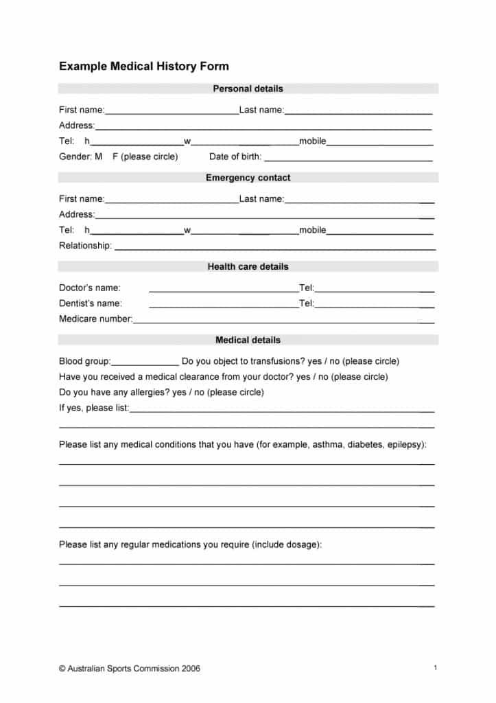 67 Medical History Forms Word Pdf Medical Health History Form