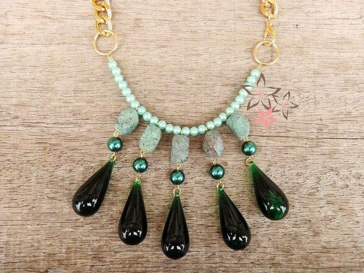 Green Turquoise Dream Handmade Dangle Necklace