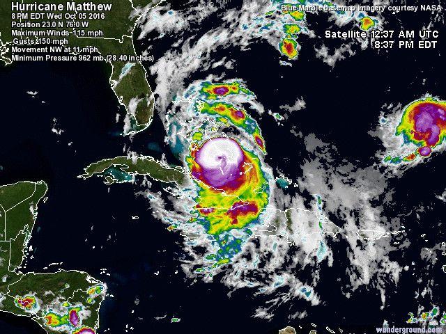 Hurricane Matthew (left) and Hurricane Nicole (right)