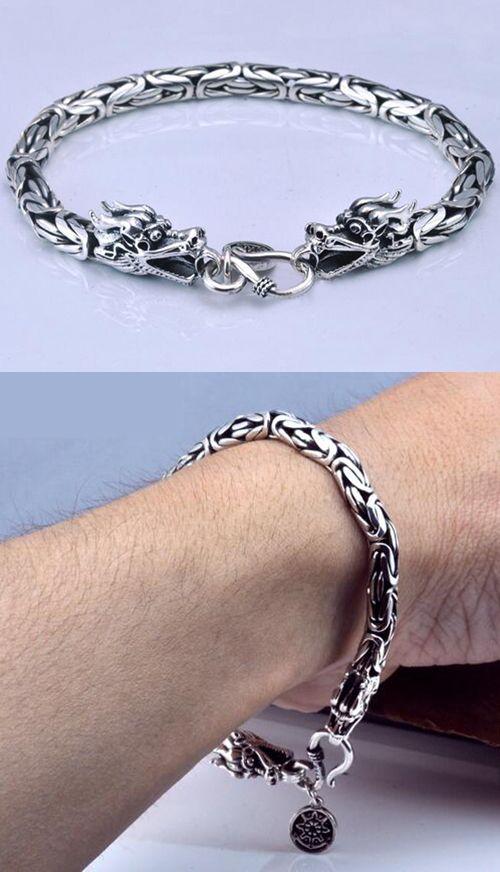 Men's Sterling Silver Byzantine Chain Dragon Bracelet $33