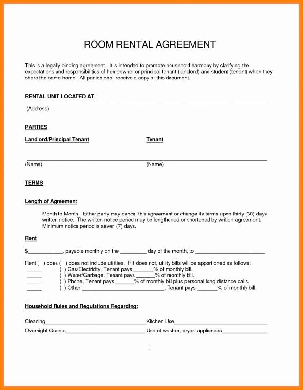 Rental Agreement Room In Private Home Rental Agreement Templates
