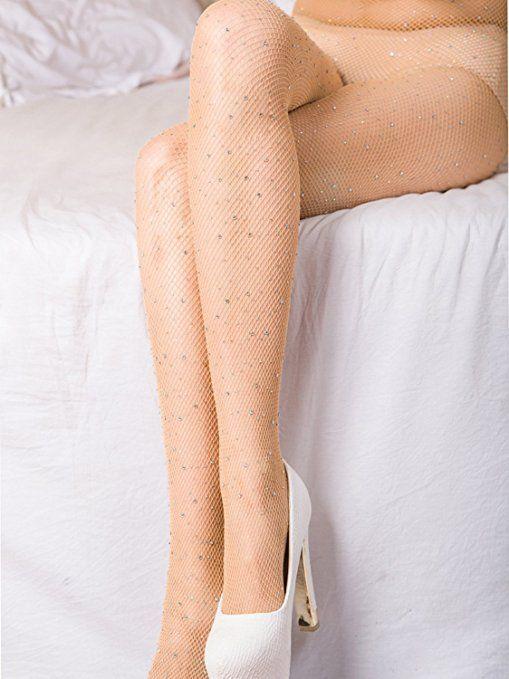 a6e2df25c33 BerryGo Women s Sexy Mesh Fishnet Sparkle Glitter Rhinestone Pantyhose Nude