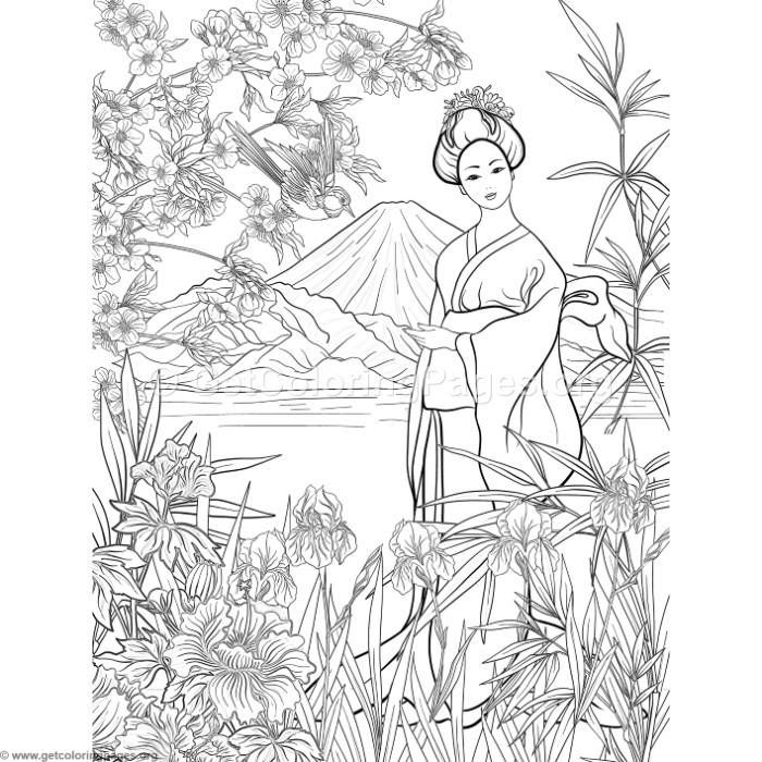 Free Download Japanese Painting Geisha Coloring Pages Coloring