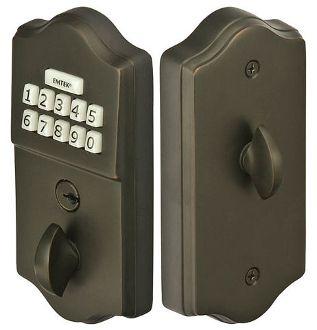 Emtek Keypad Deadbolt, Keyless Deadbolt for Gates and Doors, Item# E1000, Made of Brass, Available in Oil-Rubbed Bronze, Satin Nickel, and PVD-Lifetime.