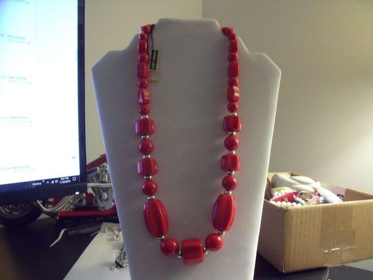 "Vintage Genuine Lucite Necklace Red 22"" | eBay"