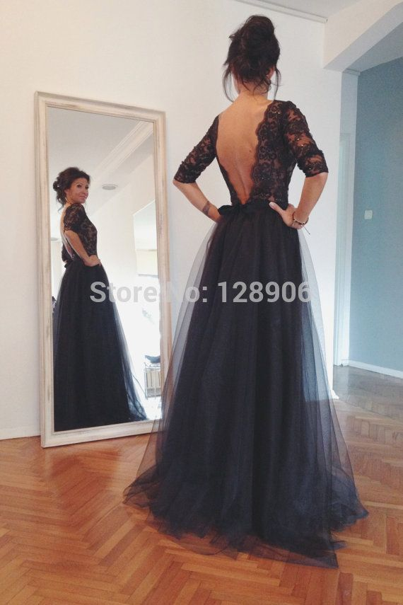 Elegant Navy Blue Prom Dress 2015 with Half Sleeves Beaded Appliques Lace Prom Party Dress Backless Long Elegant Prom Dress