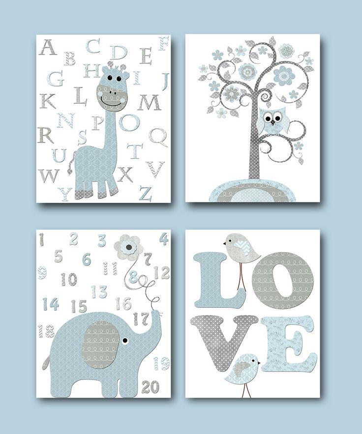Kids Art Kids Wall Art Baby Boy Nursery Print Children Art Children Wall Art Baby Room Decor set of 4 8x10 Giraffe Alphabet Elephant Numbers by artbynataera on Etsy