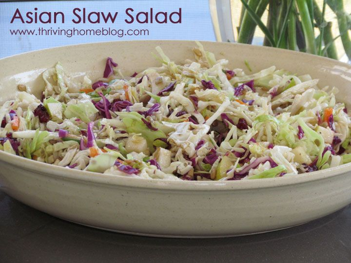 """Asian Slaw Recipe - Here's a delicious """"real food"""" version of the old Oriental Slaw with Ramen Noodles. No MSG included!"""