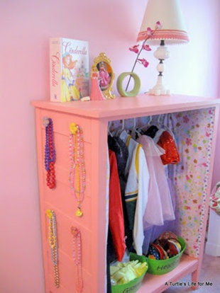 Over 50 Organizational Tips for Kids' Spaces. Dress up station from old