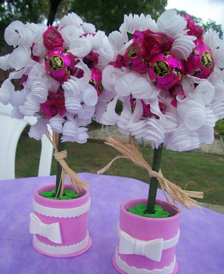 Buffet Aparador Grande ~ Bombom + Papel crepom + Bola Isopor + Suporte Reciclagem e artesanato Pinterest Trees