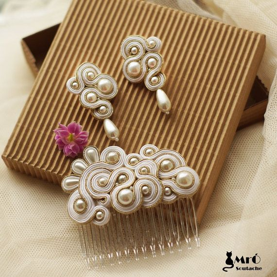 Natasha beautiful wedding set soutache earrings and by MrOsOutache