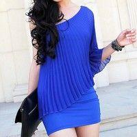 Wish | Fashion Women Trendy Sexy One Shoulder Cocktail Skirt Clubwear Mini Pencil Dress blue