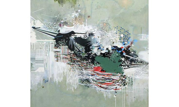 "A Continuous Differentiable Function, 2011, oil, graphite and mixed media on paper on panel, 40"" x 40"""