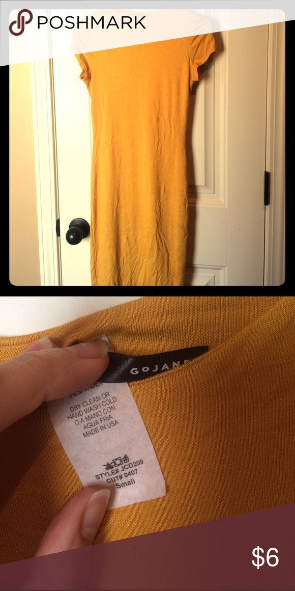 Mustard colored dress size small This is a go Jane brand dress size small. It is very tight fitting and fits more like an xs than a small. It's in excellent condition and is mustard yellow in color. The picture makes it look like it has wrinkles but as soon as you put it on they go away. Open to offers ask questions! go jane Dresses
