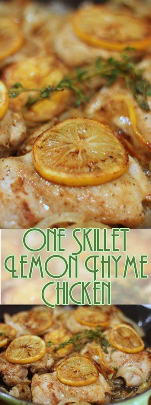 You'll be amazed at how quickly this recipe for Easy One Skillet Lemon Thyme Chicken comes together. Did I mention it's all done in one skillet? This easy to make and clean up, I am sure you you will fall in love. #easydinner #chickenrecipe #oneskillet #onepan via @Flavoritenet