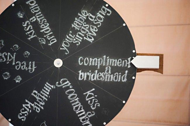 Bride and groom kissing games at wedding