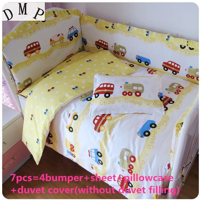 42.80$  Buy here - http://alitm2.shopchina.info/1/go.php?t=32511406836 - Discount! 6/7pcs 100% Cotton Cute Baby Cot Set Crib bedding set For Kids,Baby Bedding Set Unpick ,120*60/120*70cm  #magazine