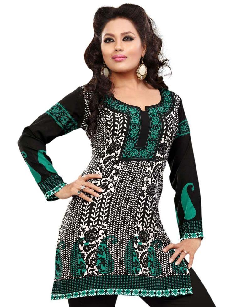 Delightful black, white and green color crepe kurti.  Item code: KLXD59DEVT http://www.bharatplaza.com/new-arrivals/kurtis.html