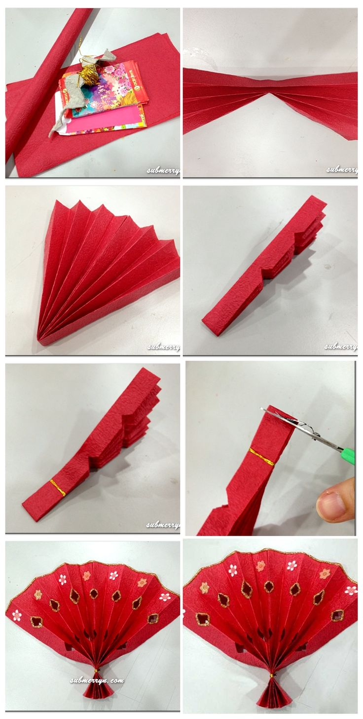 DIY- Chinese New Year fan for little ones, could add string tassels, Chinese words, cut out different shapes and more!
