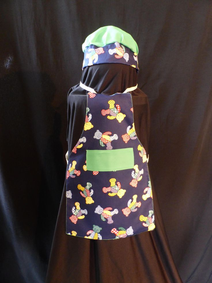 Handmade 0 - 2 Years,  Kids Navy Blue Teady Bear Apron With Chefs Hat, Fully Reversible, Green Backing, Tie Strings at Neck & Wast. by ArtisticArtistryCo on Etsy